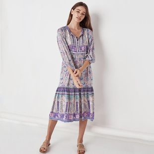 Fashion deep V-neck printed sling beach dress NHDF121880's discount tags