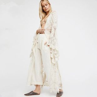 Vacation style lace cardigan long dress NHDF121878's discount tags
