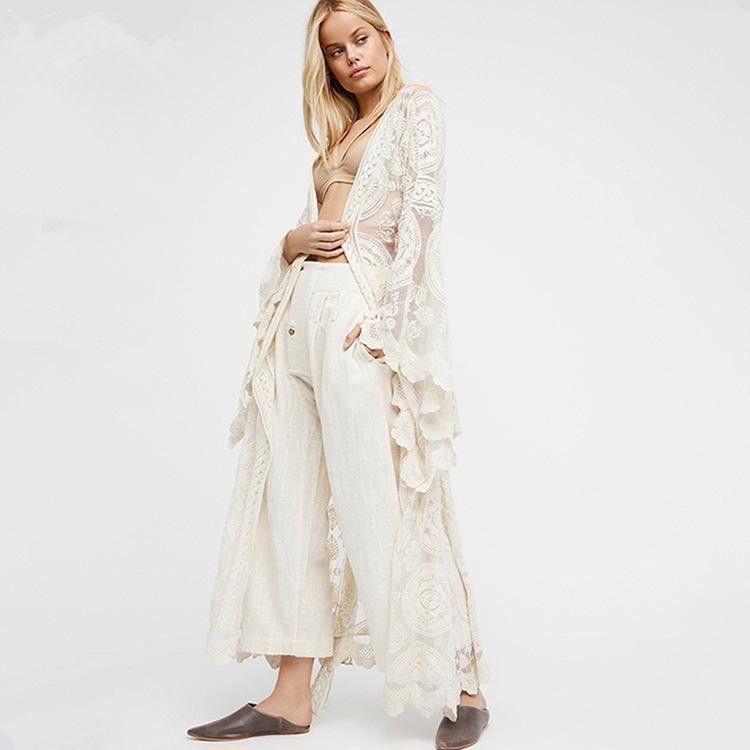 Vacation style lace cardigan long dress NHDF121878