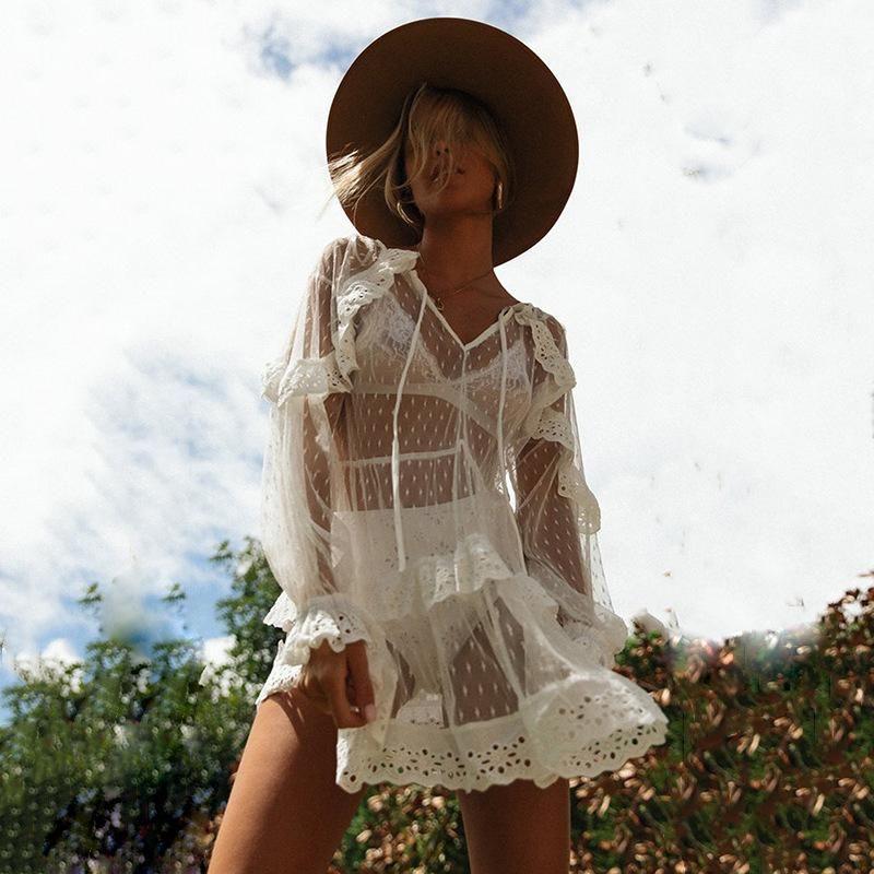 Fashion V-neck Lotus Leaf Sleeve Openwork Cake Skirt NHDF121913