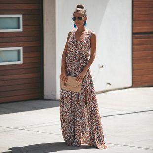 V-neck digital printing lace beach long skirt NHDF121923's discount tags