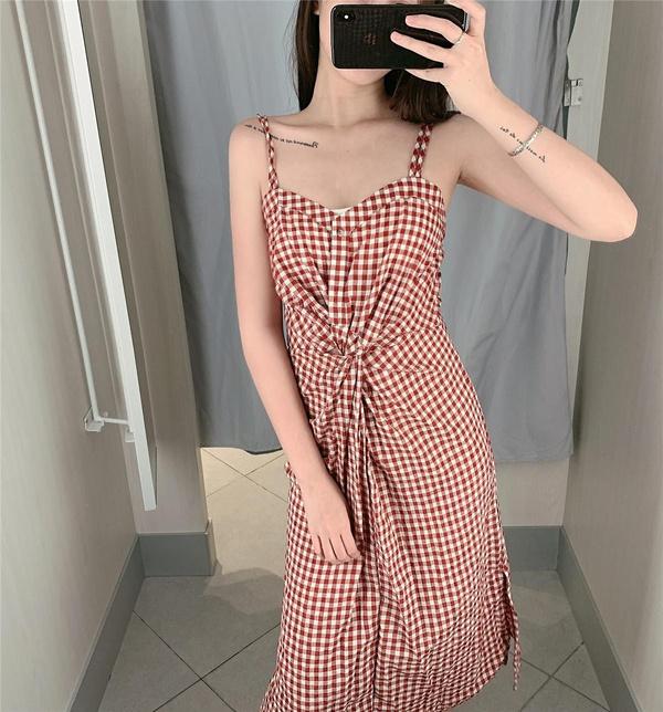 Fashion high waist retro plaid dress NHDS121925