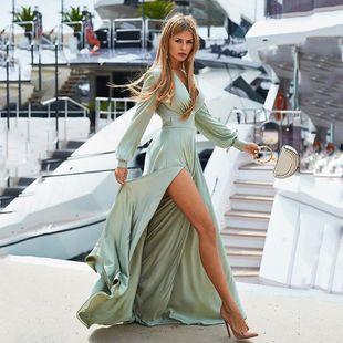 Fashion deep V-neck dress stitching open long skirt NHDF121930's discount tags