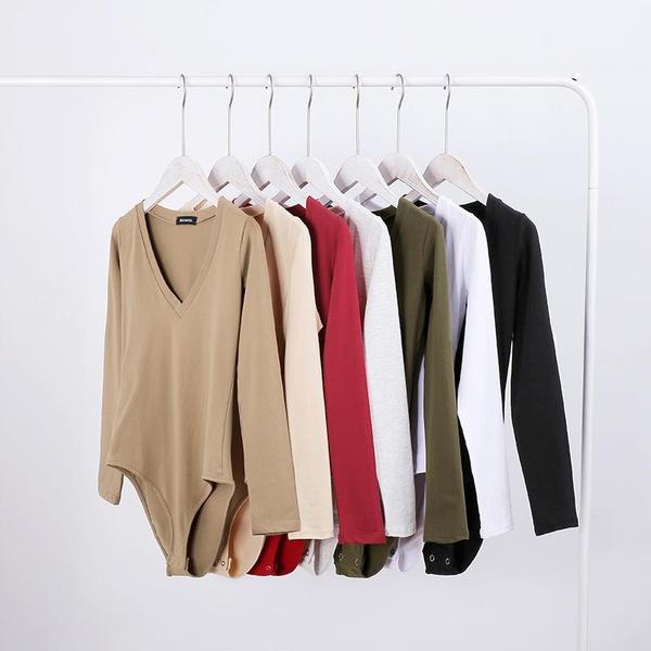 Fashion new solid color slim bodysuit NHDS121933