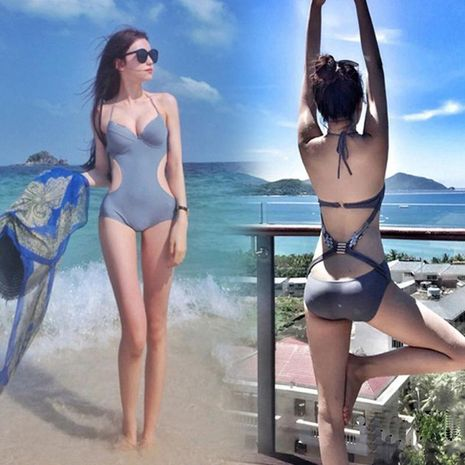 Sexy backless slim body covered belly slim size chest gathered bikini NHXW121949's discount tags