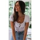 Literary linen cotton shortsleeved Tshirt tops NHDF121860
