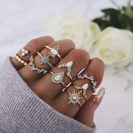 Anillos de aleación de diamantes florales para mujer NHNZ121986's discount tags