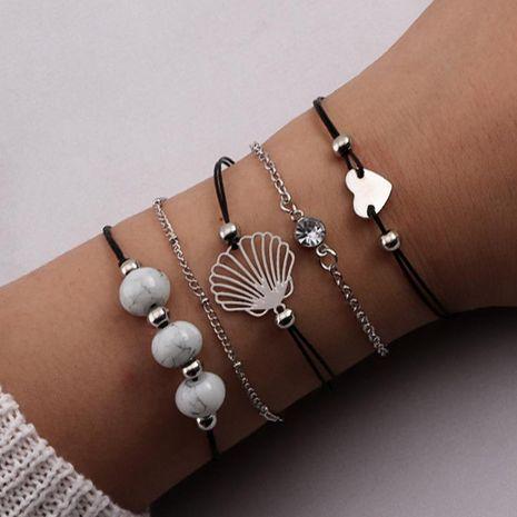 Perlas de amor de mujer concha blanca turquesa pulsera de aleación NHNZ122003's discount tags