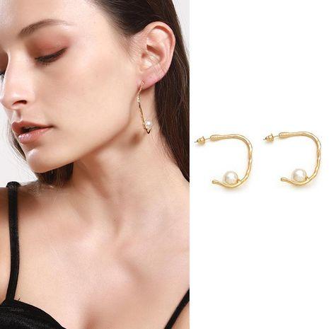 Pendientes de aleación de perlas chapados en forma de C para mujer NHNZ122006's discount tags