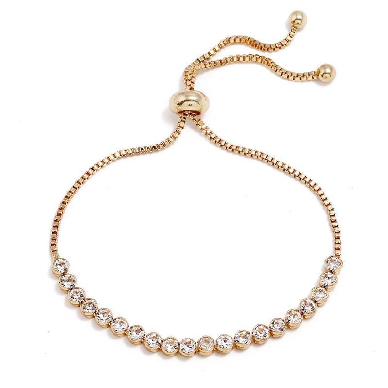Pulsera de aleación de diamantes en línea geométrica para mujer NHNZ122014