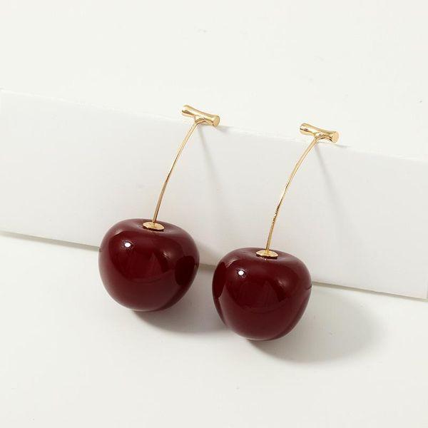 Pendientes de resina de cereza dulce y lindo para mujer NHNZ122016