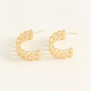 Womens C-shaped plating Hollow alloy Earrings NHNZ122020's discount tags
