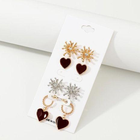 Mujeres Vintage vino rojo amor goteo aceite corazón chapado pendientes de aleación NHNZ122024's discount tags