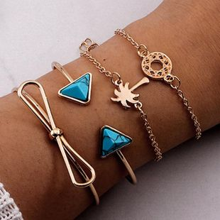 Womens Coconut tree blue turquoise butterfly Alloy Bracelet NHNZ122039's discount tags
