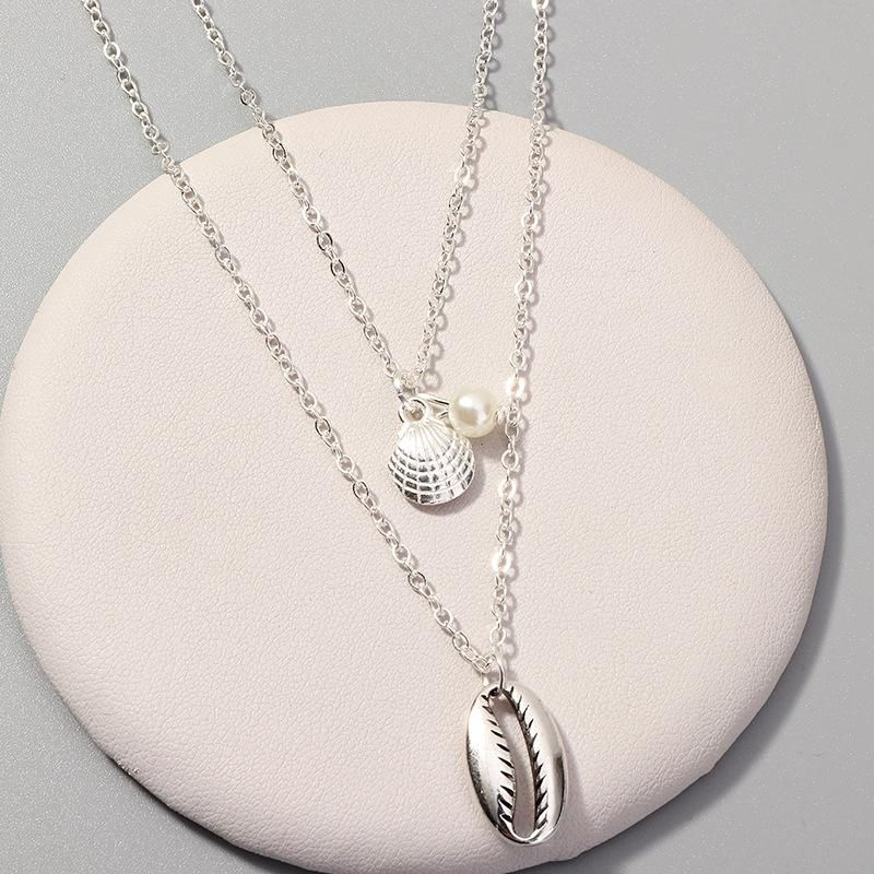 Womens Shell Scallop Alloy Necklaces NHNZ122051