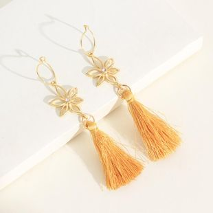 Womens tassel Flower plating alloy Earrings NHNZ122070's discount tags