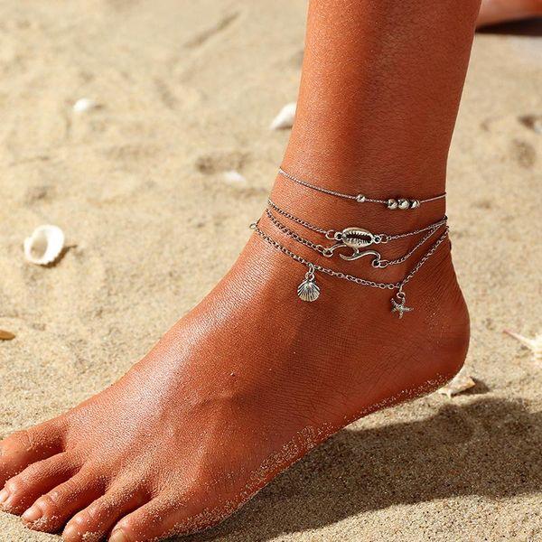Womens Shell Starfish Alloy ankle bracelet NHNZ122100
