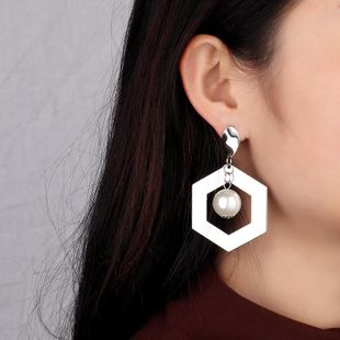 Womens Hexagon Electroplating Alloy Earrings NHNZ122101's discount tags