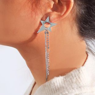 Womens Star-studded claw chain Alloy Earrings NHNZ122122's discount tags