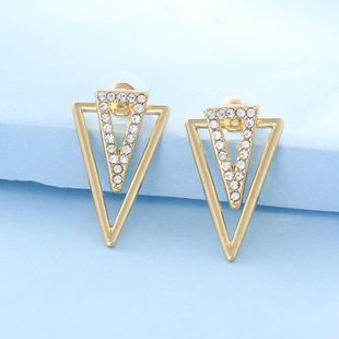 Womens Triangle Plating Rhinestone front and rear Alloy Earrings NHNZ122138's discount tags