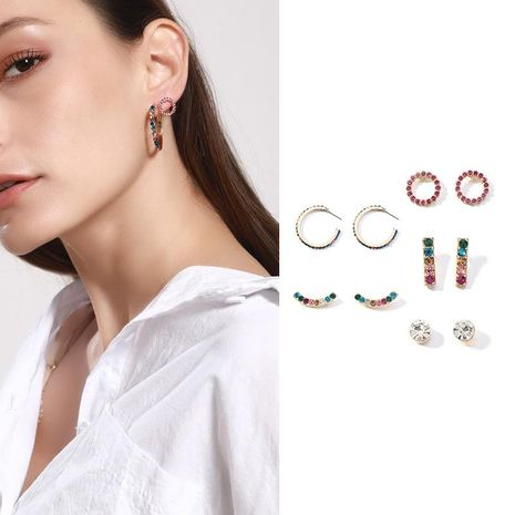 Pendientes de diamante de color redondo de aleación para mujer NHNZ122139's discount tags