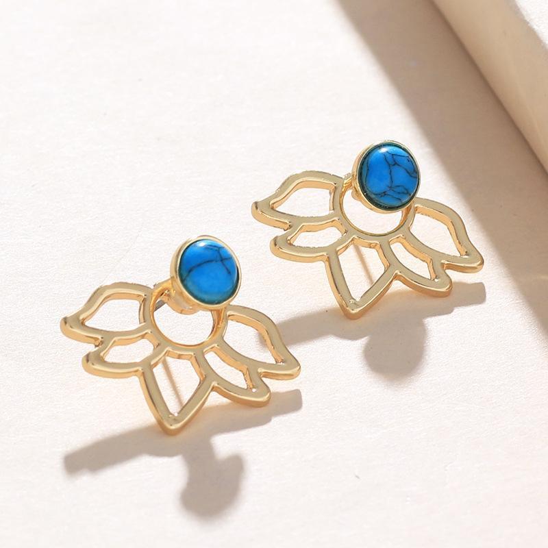 Womens Lotus Star Alloy Rhinestone Turquoise Earrings NHNZ122150