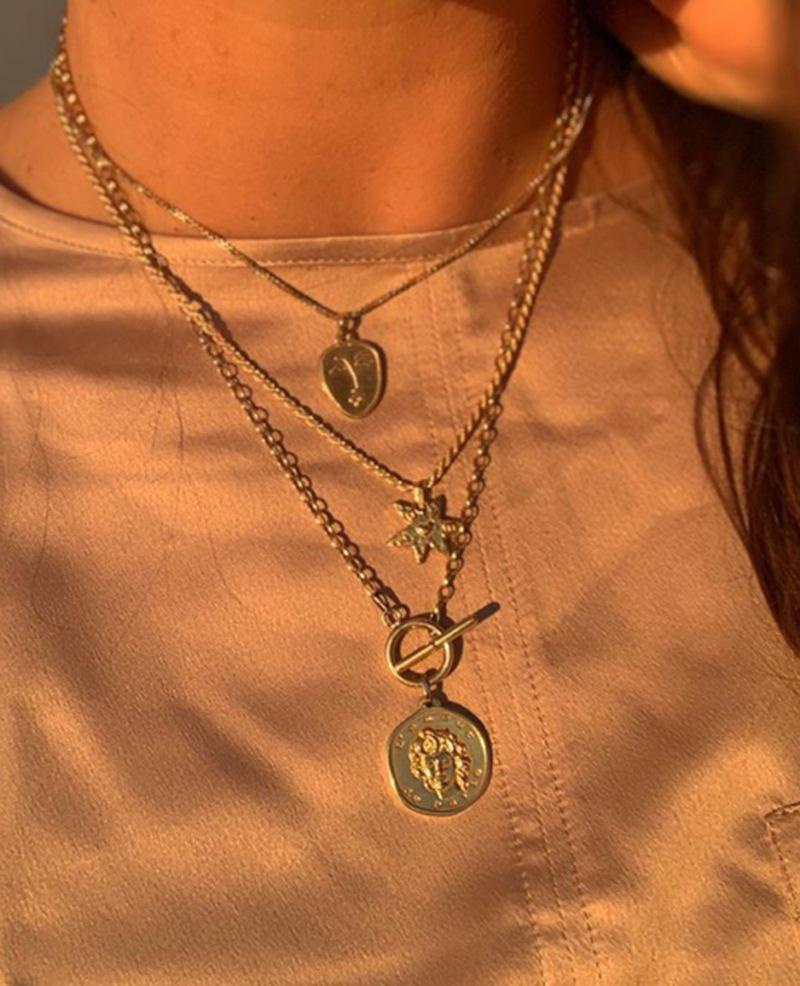 Female portrait five-pointed star plating alloy Necklaces NHNZ122154