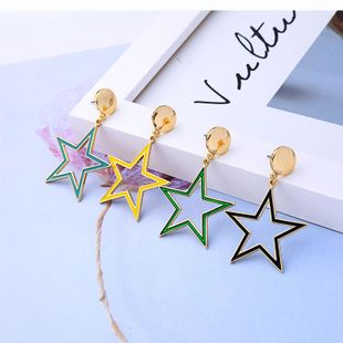 Womens Star Drop Oil Alloy Earrings NHQD122155's discount tags