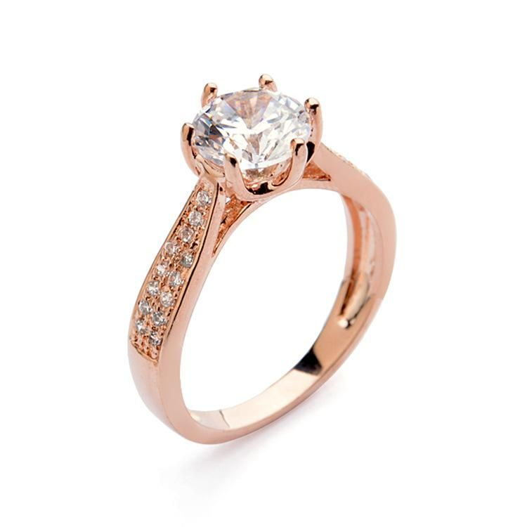 Women s geometric classic six-jaw zircon copper red apple ring NHLJ122158
