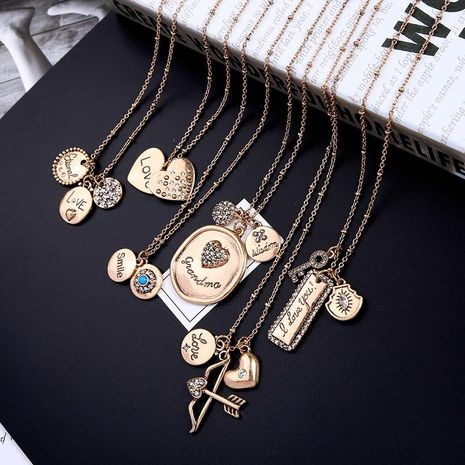 Womens Heart-Shaped Vintage old heart shaped rhinestone Necklaces NHQD122163's discount tags