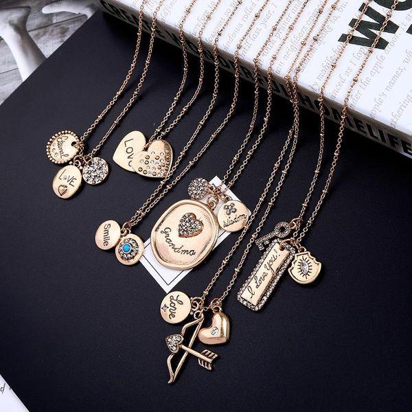Collares de diamantes con forma de corazón antiguos con forma de corazón antiguos para mujer NHQD122163