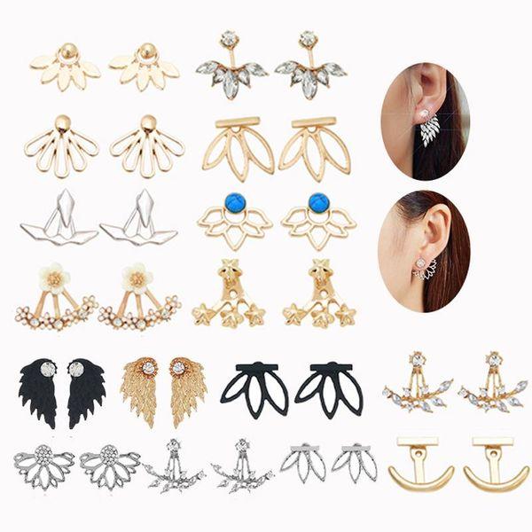 Loto de calado creativo para mujer con diamantes. Pendientes de aleación de galvanoplastia. NHNZ122164