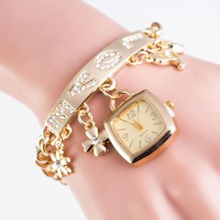 Fashion Rhinestone Alloy Pendant Table LOVE Bracelet Watch NHSY122171's discount tags