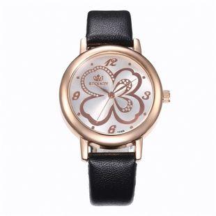 Sleek minimalist four-leaf belt quartz watch NHHK122179's discount tags