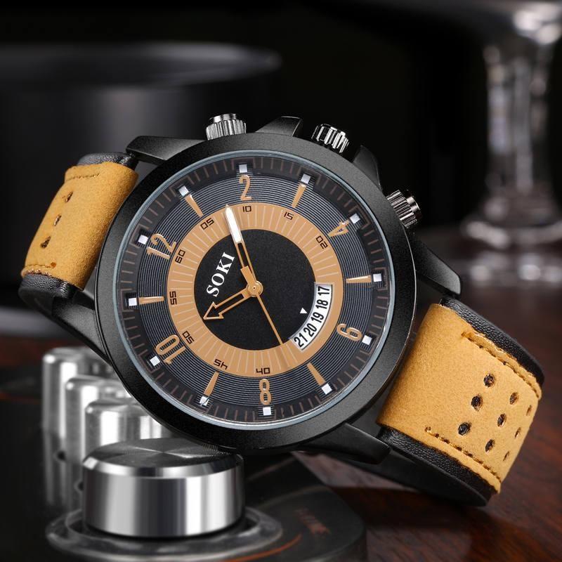 Fashion large dial matte belt men s military watch NHSY122195