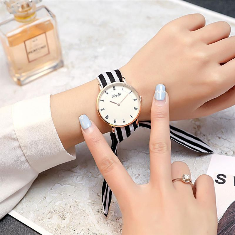 Fresh gauze straps polka dot stripe ladies watch NHSY122210