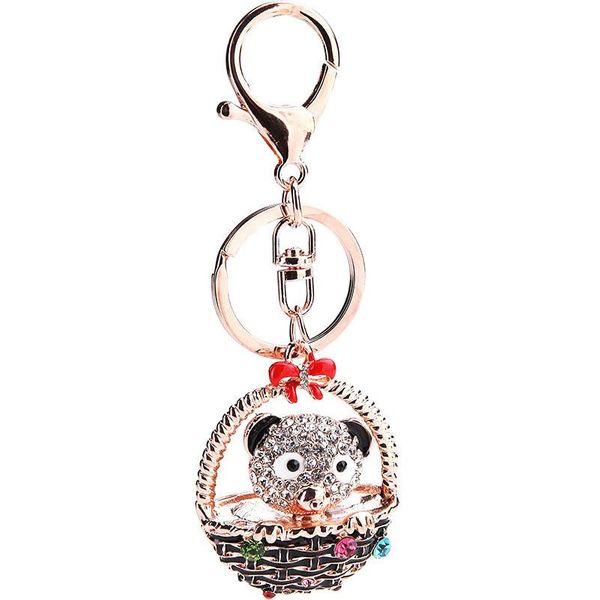 Creative bear basket full rhinestone keychain NHMM122222