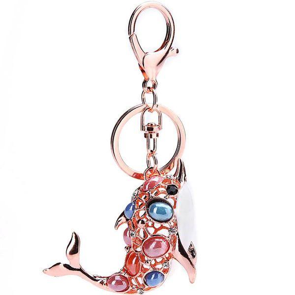 Creative Dolphin Rhinestone Alloy Keychain NHMM122226