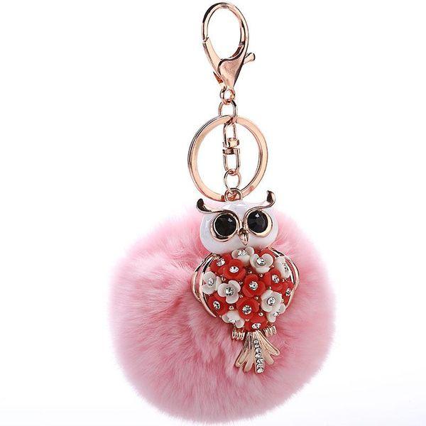 Fashion Women s Owl Rabbit Hair Keychain NHMM122376