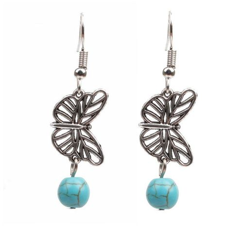 Vintage butterfly long earrings NHYL122500's discount tags