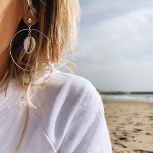 Unisex Geometry Electroplating  Big circle of shells Alloy Earrings NHPJ122534's discount tags