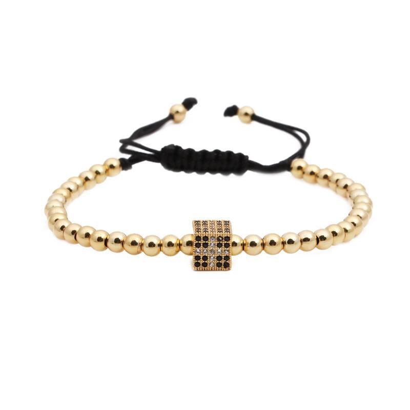 Fashion Cross square copper bead bead weave Bracelet NHYL122556