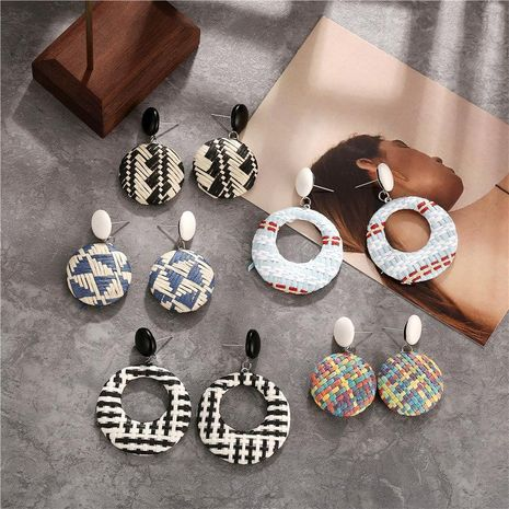 Creative retro simple color woven round earrings NHPJ122583's discount tags