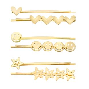 Simple metal smiley face clip heart-shaped five-pointed star hairpin NHHN122595's discount tags