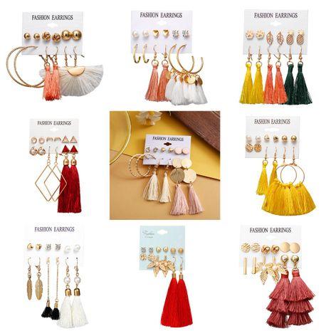 Unisex alloy inlaid zircon  tassel Flower Earrings NHPJ122597's discount tags