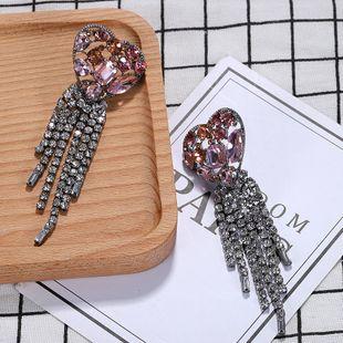 Womens Heart-Shaped Rhinestone Earrings NHJQ122666's discount tags