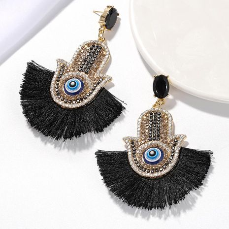 Womens Fashion rhinestone small eyes tassel Geometric Earrings NHJQ122692's discount tags