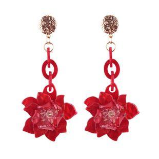 Womens Geometric Rose Acrylic Earrings NHJQ122748's discount tags