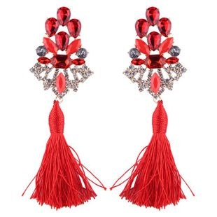 Womens Floral Rhinestone Alloy Earrings NHJQ122763's discount tags