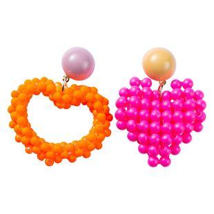 Womens Love Heart Spray Paint Earrings NHJE122768's discount tags
